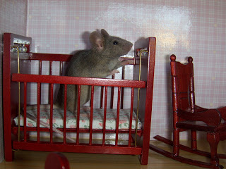 mouse in dollhouse crib