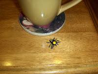 fake spider next to mug