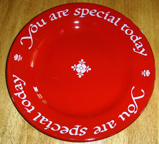 family tradition red plate