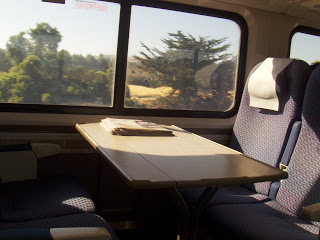 seat on train in sunshine