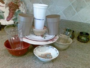 dishes stacked on counter