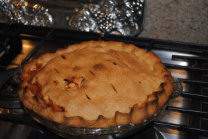 applie pie baked in oven