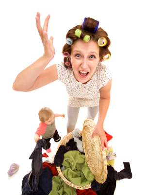 Angry housewife with a lot of washing