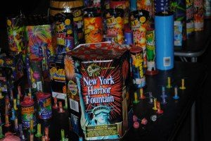 fireworks piled on table